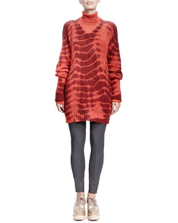 Stella McCartney Long-Sleeve Turtleneck Sweater & V-Neck Tie-Dye Sweater