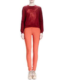 Stella McCartney Tiger-Embroidered Split-Back Top & Stretch Cotton Skinny Pants