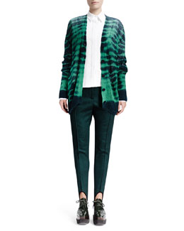 Stella McCartney Long-Sleeve Soft Tie-Dye Sweater, Long-Sleeve Cotton Pique Blouse & Relaxed Narrow-Leg Stirrup Pants