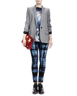 Stella McCartney Melange Jacket with Split Back, Howling Wolf-Print Tee & Tie-Dye Skinny Ankle Jeans
