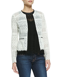 Nanette Lepore Journey Lace Contrast-Hem Jacket & Take A Trip Leather-Trim Eyelet Tank Top
