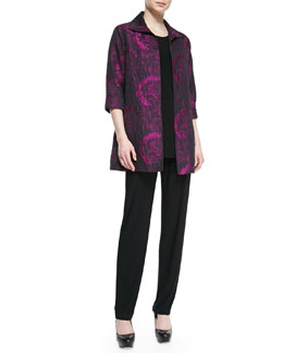 Caroline Rose Flower Burst Party Jacket, Knit Tunic/Tank & Stretch-Knit Slim Pants