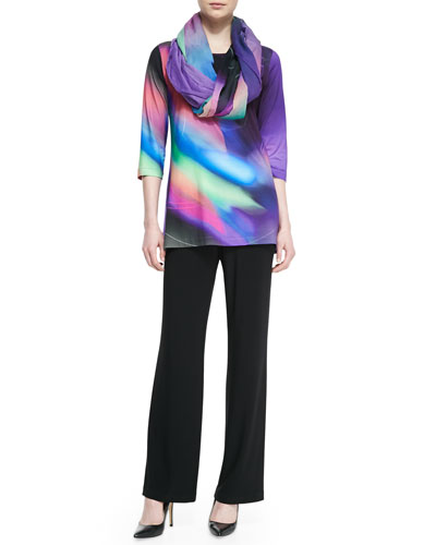 Caroline Rose Cosmic-Print Jersey Tunic, Georgette Scarf & Stretch-Knit Straight-Leg Pants