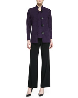 Caroline Rose Textured Knit Mandarin-Collar Jacket, Textured Knit Tank Top & Straight-Leg Jersey Pants, Women's