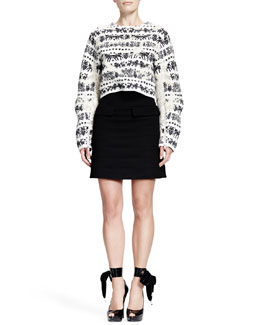 Alexander McQueen Naive Fair Isle Cropped Zip-Sleeve Sweater & Horizontal Seam Scuba Weave Skirt