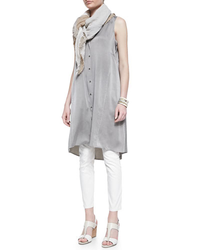 Eileen Fisher Silk Charmeuse V-Neck Dress,  Long Slim Camisole, Jacquard Skinny Ankle Jeans & Sparkle Striped Infinity Scarf, Women's