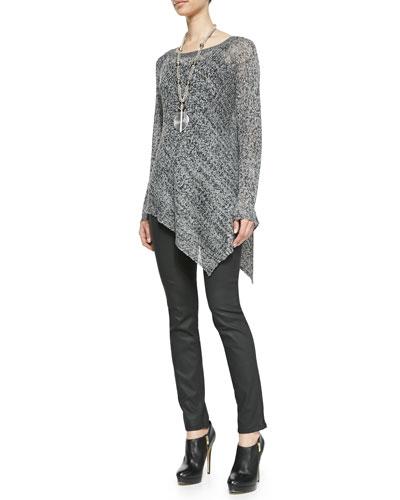 Eileen Fisher Asymmetric Linen Mesh Top, Organic Cotton Slim Tank & Waxed Stretch Skinny Jeans, Women's