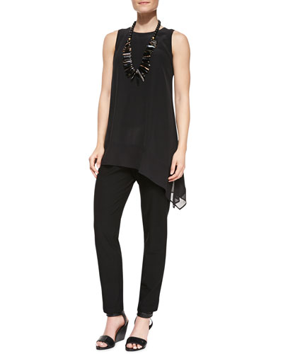 Eileen Fisher Silk Crepe de Chine Tank, Silk Jersey Long Slim Camisole & Washable Stretch-Crepe Ankle Pants, Women's