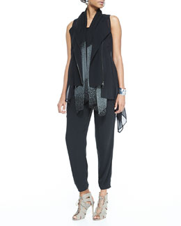 Eileen Fisher Crepe & Sheer Silk Vest, Long Slim Camisole, Slouchy Silk Ankle Pants & Dappled Sheer Silk Scarf