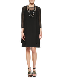 Eileen Fisher Gossamer Crepe Open Cardigan & Silk Georgette Lace-Yoke A-line Dress