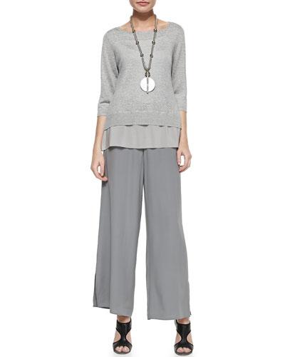 Eileen Fisher Polished Silk Habutai Top & Silk Georgette Wide-Leg Pants, Women's