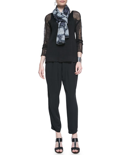 Eileen Fisher Long-Sleeve Lace Hemp Top, Long Slim Camisole, Slouchy Silk Ankle Pants & Painted Cosmos Scarf, Petite