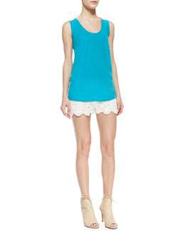 Joie Alicia Silk Tank Top & Maylie Cotton Lace Shorts