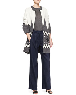 Adam Lippes Fair Isle Knit Cardigan Coat, Long-Sleeve Crewneck Top & Wide-Leg Pleated Denim Pants