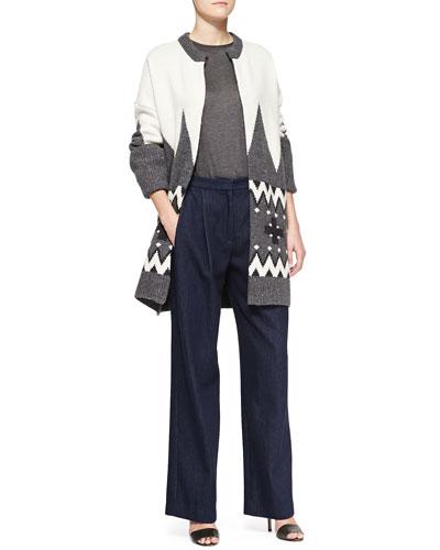 Adam Lippes Fair Isle Knit Cardigan Coat, Long-Sleeve Crewneck Top & Wide-Leg Pleated Denim Pants
