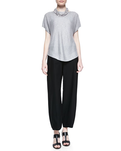 Eileen Fisher Linen Delave Box Top & Lantern Wide-Leg Ankle Pants