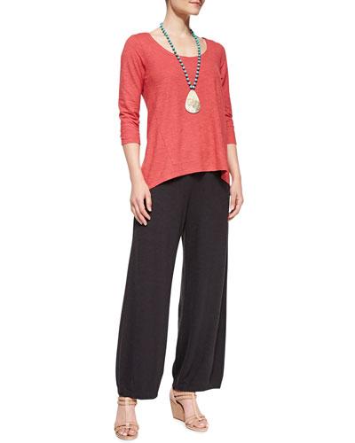 Eileen Fisher 3/4-Sleeve Hemp Twist Top & Lantern Wide-Leg Ankle Pants