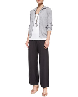 Eileen Fisher Mesh Hooded Zip Jacket, Slim Tank & Lantern Wide-Leg Ankle Pants, Petite