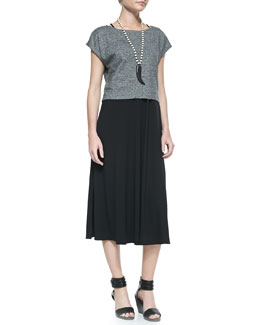 Eileen Fisher Organic Cotton/Linen Melange Cropped Top & Viscose Jersey Midi Dress