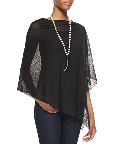 Eileen Fisher Sheer Lace Poncho & Stretch Silk Jersey Tank