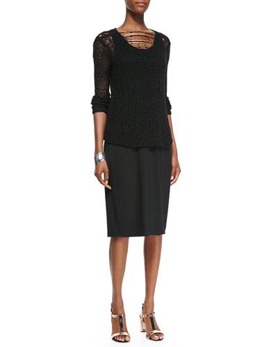 Eileen Fisher Fisher Project Nubble-Knit Long-Sleeve Top & Sleeveless Racerback Midi Dress
