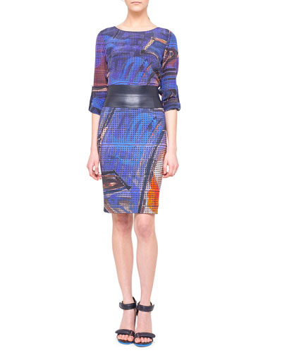 Akris punto Graffiti-Print Silk Blouse and Pencil Skirt