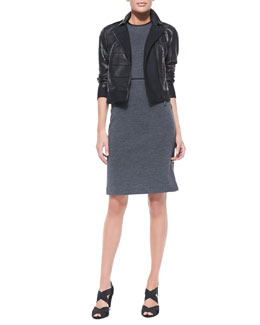 Tory Burch Lila Tiered Leather Jacket & Marcia Sleeveless Sheath Dress With Piping Accent