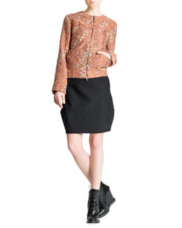 Jil Sander Confetti Floral Boucle Zip Jacket & Side-Draped Wide-Banded Tulip Skirt