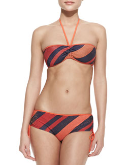 MARC by Marc Jacobs Striped Bandeau Swim Top & Shirred Hipster Swim Bottom