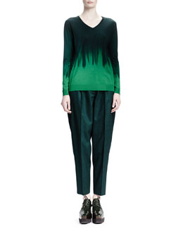 Stella McCartney Geometric Wool Jacquard Caban Coat, Long-Sleeve V-Neck Dip-Dye Sweater & Relaxed Melange Wool Pants