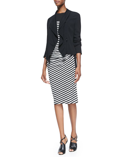 DKNY Long-Sleeve Cropped Jacket & Striped Draped-Front Dress