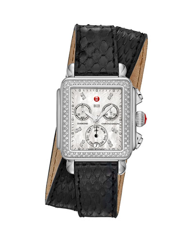 MICHELE Deco Diamond Watch Head & 18mm Snake Double-Wrap Watch Band