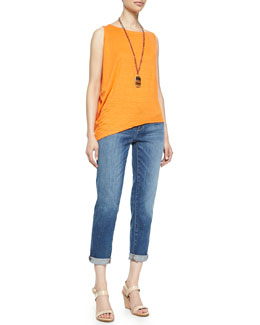 Eileen Fisher Organic Linen Asymmetric Sleeveless Top & Stretch Boyfriend Jeans