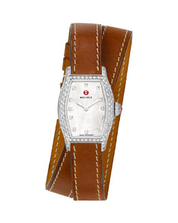MICHELE Urban Coquette Mother-of-Pearl Diamond-Bezel Watch Head & 12mm Double-Wrap Leather Strap