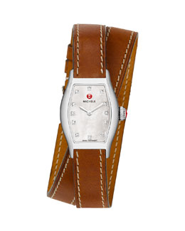 MICHELE Urban Coquette Mother-of-Pearl Diamond-Dial Watch Head & 12mm Double-Wrap Leather Strap