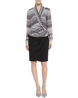 L'Agence Long-Sleeve Shawl Collar Blouse & Draped Faux-Wrap Jersey Skirt