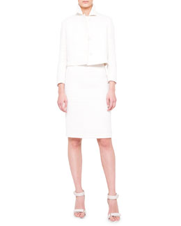 Akris punto Coated Tweed Cropped Jacket and Pencil Skirt & Embroidered-Yoke Shell