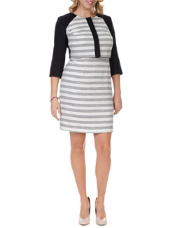 Kay Unger New York Women's 3/4-Sleeve Striped Cropped Jacket & Sleeveless Striped-Skirt Dress, Women's