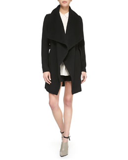 Vince Asymmetric Leather-Trim Car Coat, Long-Sleeve Half-Placket Silk Blouse & Drop-Yoke Boxer Shorts