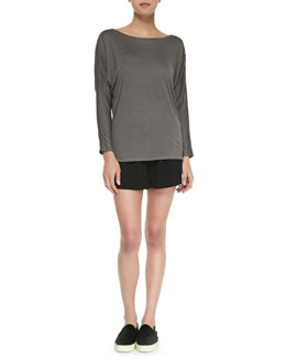 Vince Long-Sleeve Mesh Top & Drop-Yoke Boxer Shorts