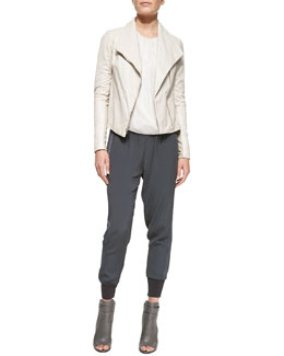 Vince Lambskin Scuba Jacket, Cross-Front Drape Long-Sleeve Blouse & Ribbed-Cuff Jogger Pants