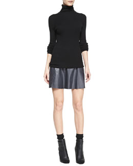 Vince Slim Ribbed Knit Turtleneck & A-Line Leather Miniskirt