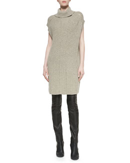Vince Ribbed Turtleneck Sweater Dress & Zip-Pocket Leather Leggings