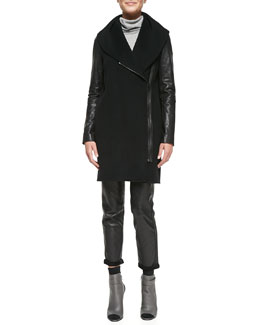 Vince Leather-Sleeve Shawl-Collar Coat, Mixed-Weight Cashmere Turtleneck & Leather Strapping Trousers