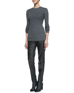 Vince Ribbed Knit Crewneck Sweater & Leather Strapping Trousers