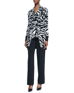Neiman Marcus Reversible Animal-Print Tank & Cardigan Set & Knit Pants