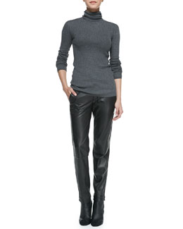 Vince Slim Ribbed Knit Turtleneck & Leather Strapping Trousers