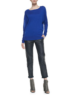 Vince Drop-Sleeve Raised-Seam Top & Strapping Cuffed Straight-Leg Leather Pants