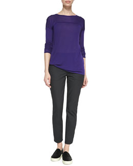 Vince Long-Sleeve Tee with Silk Piping & Twill Relaxed Cropped Pants