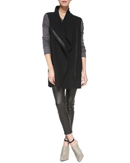 Vince Leather-Trim Asymmetric Wool Vest, Lightweight Long-Sleeve Crewneck Top & Cropped Leather Leggings